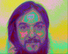 PIP scan of a man's head. You can see the energy centre at his forehead called the brow chakra